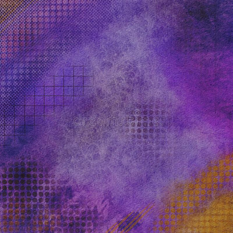 Grunge purple with color accents abstract textured background stock illustration