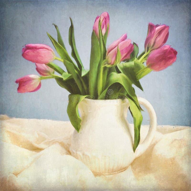 Digital Grunged Tulip Painting arkivbilder