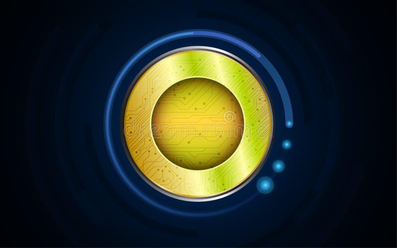 Digital guld- mynt på bakgrund för hög tech vektor illustrationer