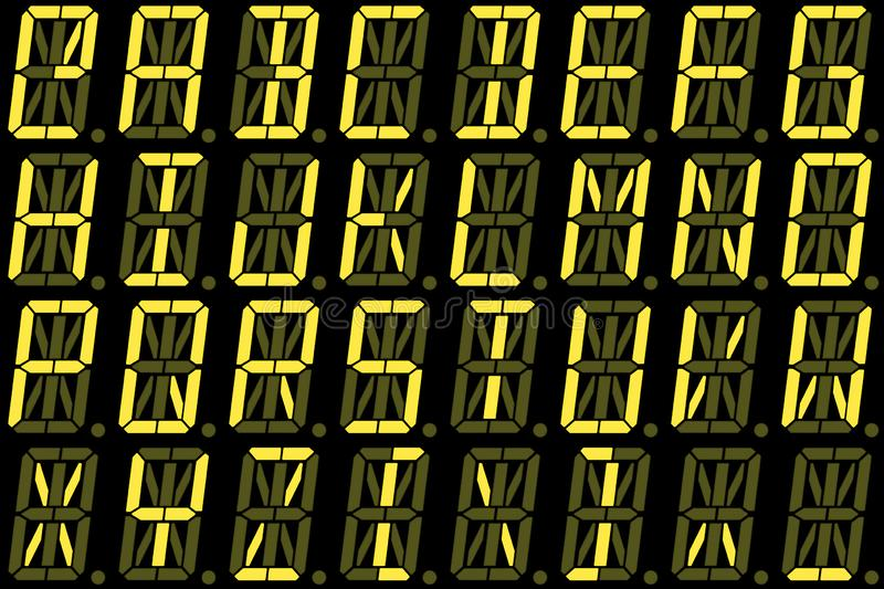 Digital-Guss von den Großbuchstaben auf gelber alphanumerischer LED-Anzeige lizenzfreies stockbild