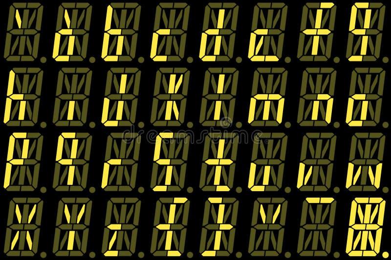 Digital-Guss von den kleinen Buchstaben auf gelber alphanumerischer LED-Anzeige stockfotografie
