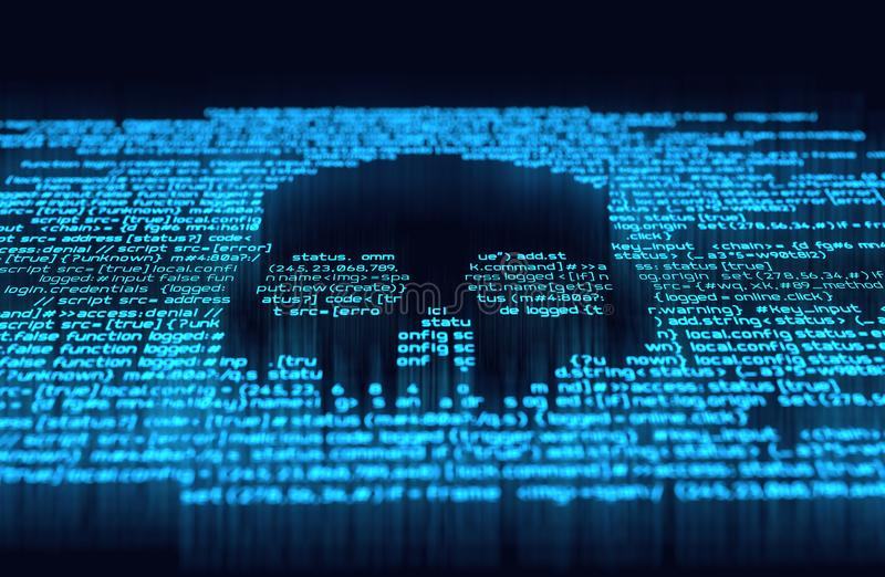 Digital Hacking and Online Crime. Malicious computer programming code in the shape of a skull. Online scam, hacking and digital crime background 3D illustration stock illustration