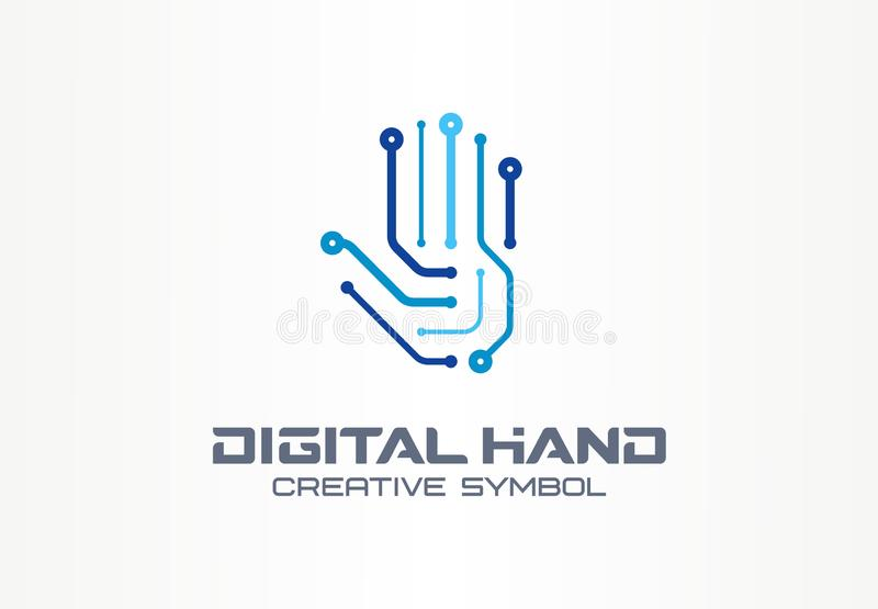 Digital hand creative symbol concept. Robot arm, futuristic technology, cyber security abstract business logo. Circuit stock illustration
