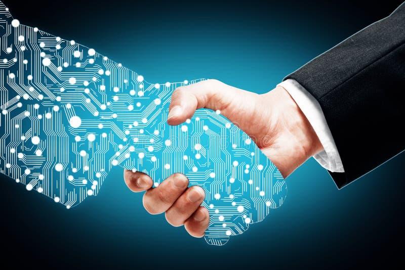 Digital handshake on blue background royalty free stock image