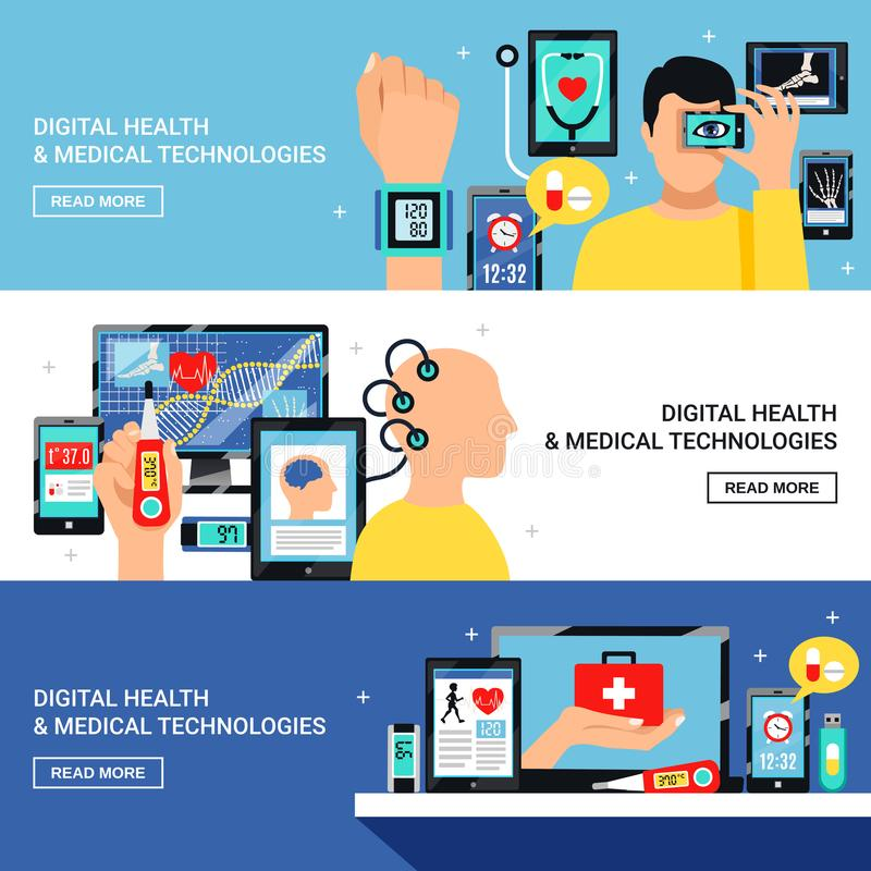Digital Health Flat Banners Set stock illustration