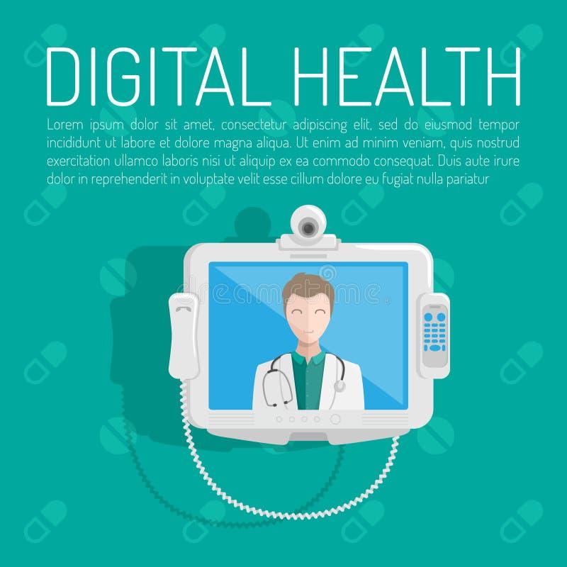 Digital health horizontal banner set with medicine elements on a blue background. Vector illustration royalty free illustration