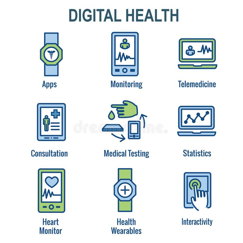 Digital Health Icon Set with Wearable Technology Web Header Banner stock illustration