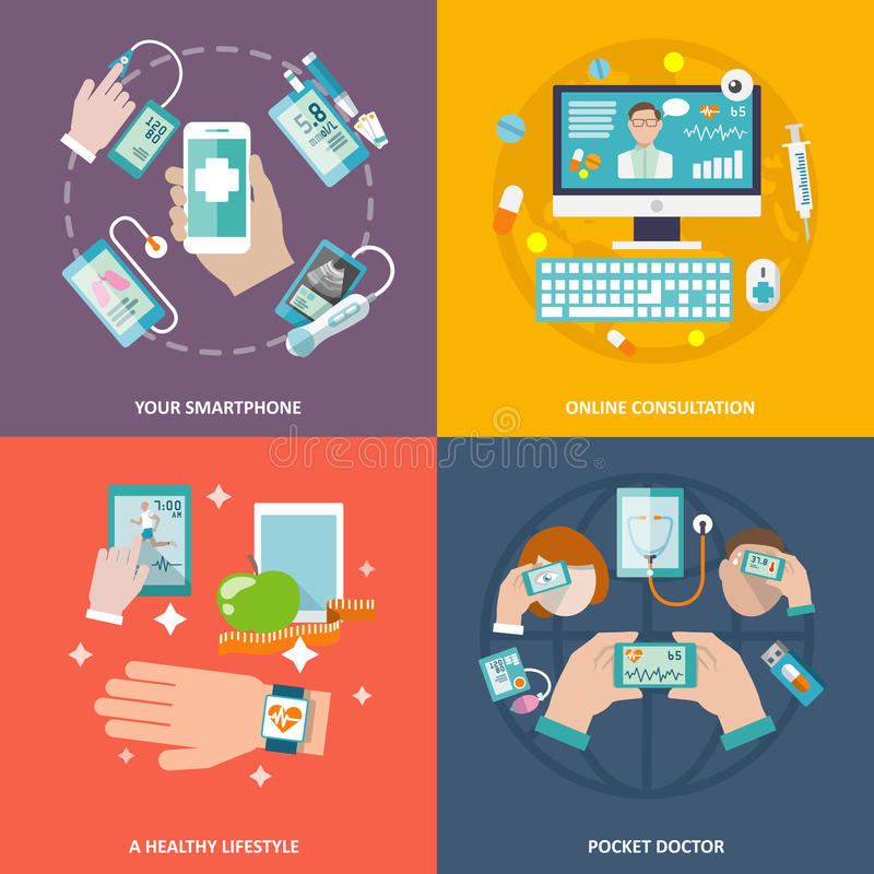 Digital health icons set flat vector illustration