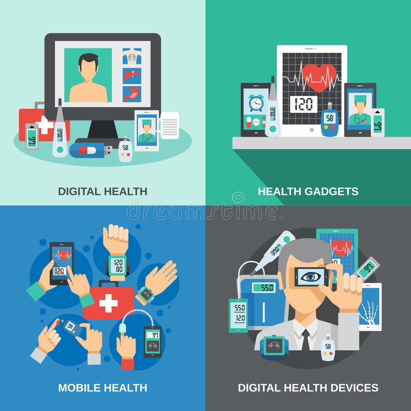 Digital Health Set vector illustration