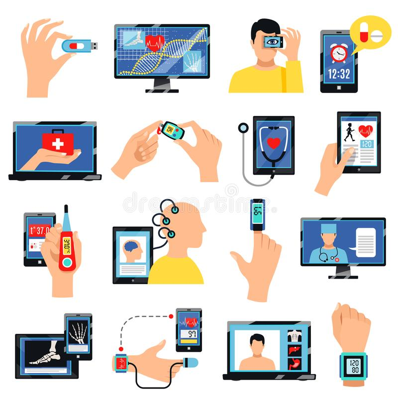 Digital Healthcare Technology Icons Set stock illustration