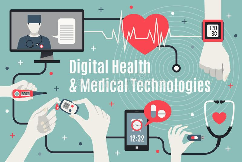 Digital Healthcare Technology Flat Poster stock illustration