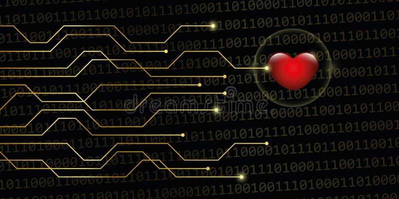 Digital heart on golden binary code background online dating con stock illustration