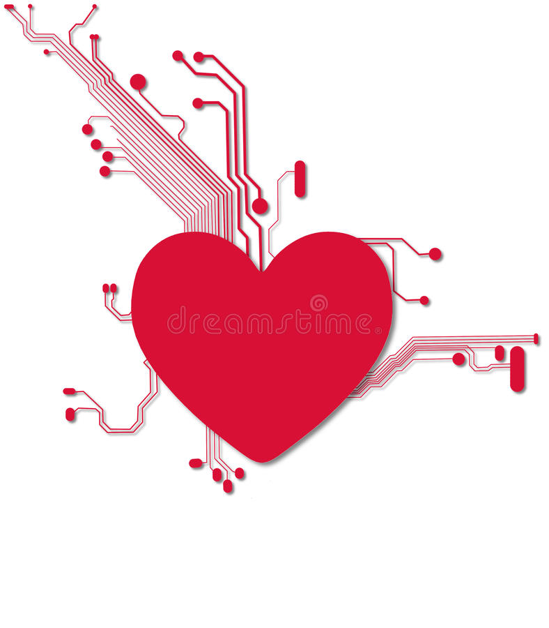 Download Digital Heart In Red And White Stock Illustration - Image: 34189732