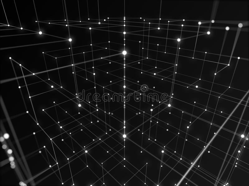 Digital hi-tech network connecting with line abstract background, black and white theme vector illustration
