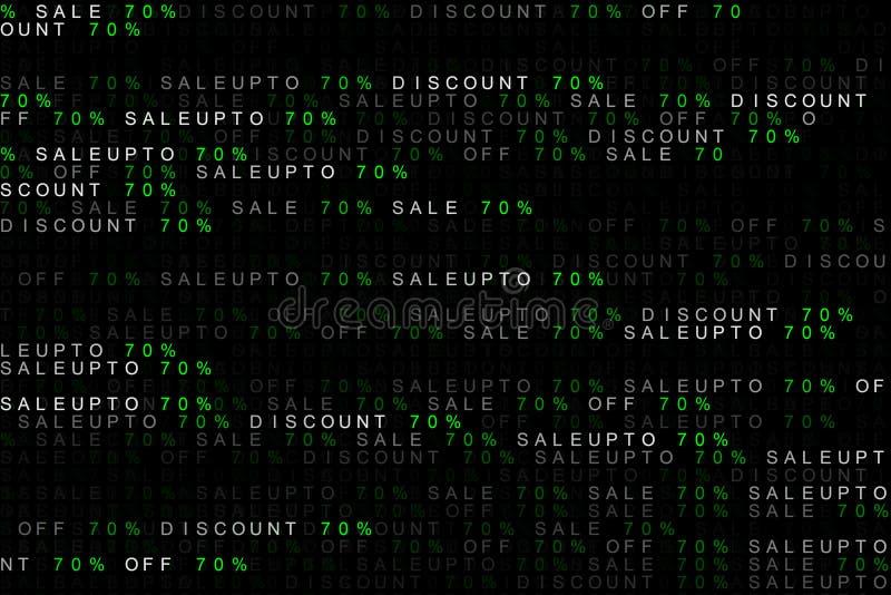 Digital-Hintergrundkonzept des vermarktenden Wortverkaufs bis, weg vom Verkauf, Rabatt 70% oder 70 Prozent oder siebzig Prozent vektor abbildung