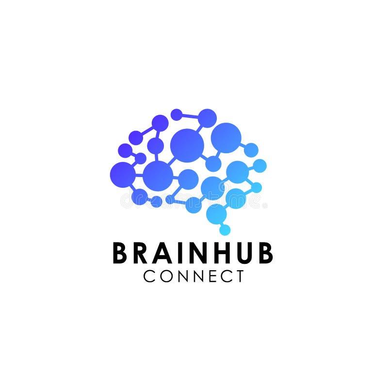 Digital hjärna Design för hjärnnavlogo hjärnanslutningslogo stock illustrationer