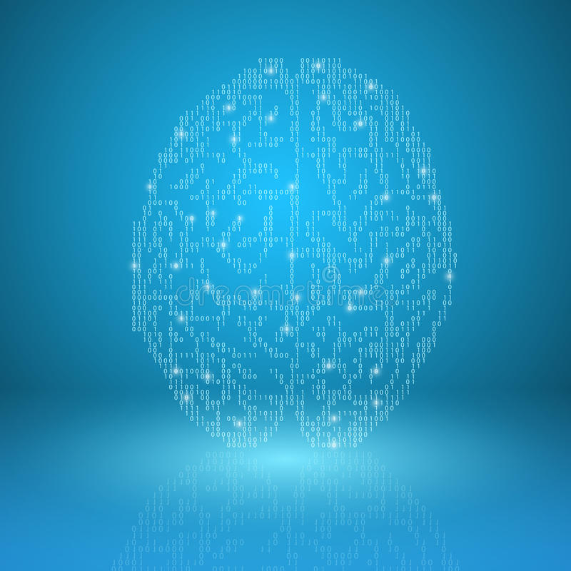 Digital hjärna på blå bakgrund royaltyfri illustrationer