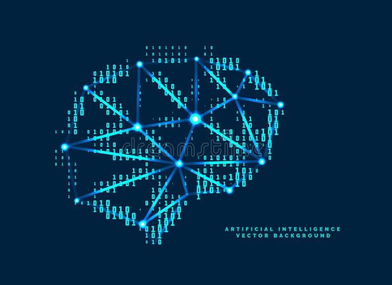 Digital hjärndesign med teknologiskt nummerbegrepp vektor illustrationer