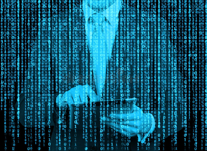 Digital hologram in a matrix style. A man with tablet is browsing data in the Internet. Blue stock photography