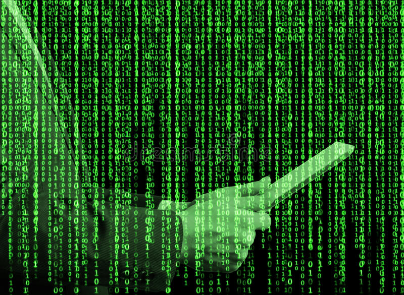 Digital hologram in a matrix style. A person with tablet is browsing some data in the Internet. Green stock images