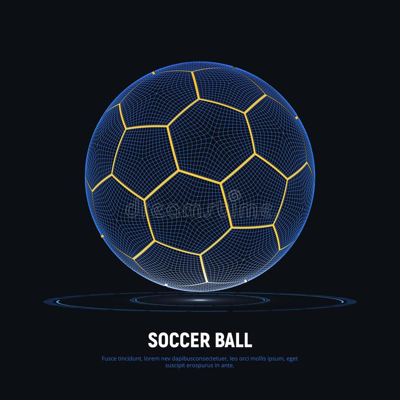Digital hologram of soccer ball with hud elements. Futuristic football. Wireframe mesh of soccer ball with yellow lines. vector illustration