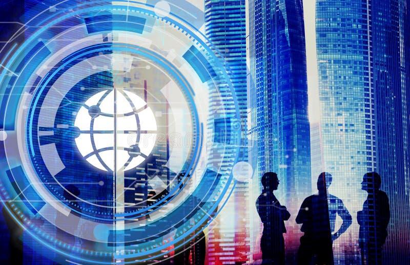 Digital Hud Interface Global Concept blu illustrazione vettoriale