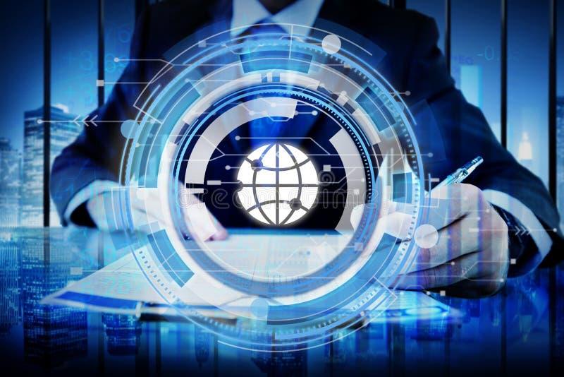 Digital Hud Interface Global Concept blu fotografie stock libere da diritti