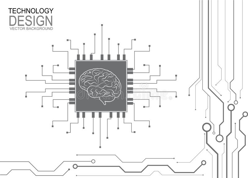 Digital human brain with computer circuit board. Electronic human brain. Vector Illustration stock illustration