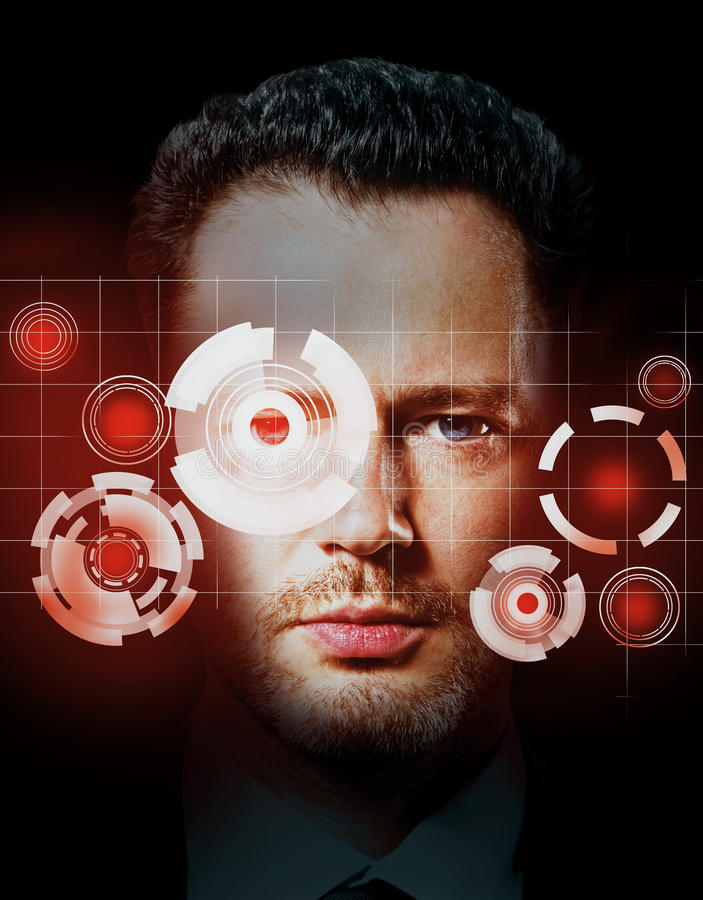 Digital ID concept. Portrait of handsome man with tech pattern on eye. Digital ID concept vector illustration