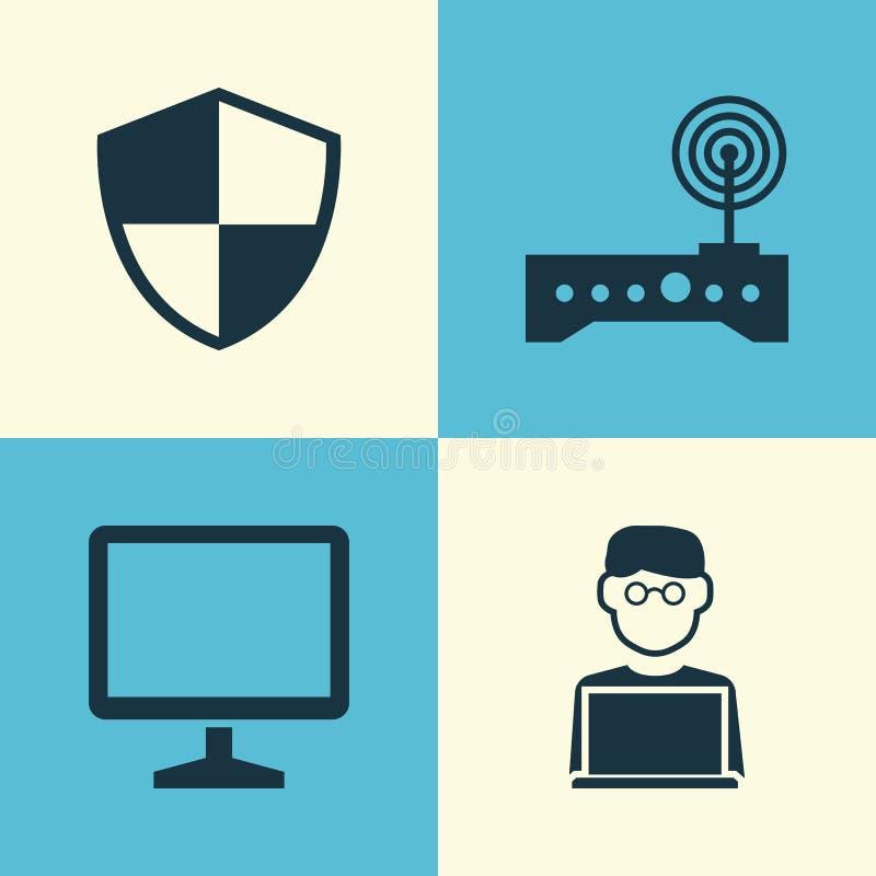 Digital-Ikonen eingestellt Sammlung des Desktops, Router, Programmierer And Other Elements Schließt auch Symbole wie Router ein stock abbildung