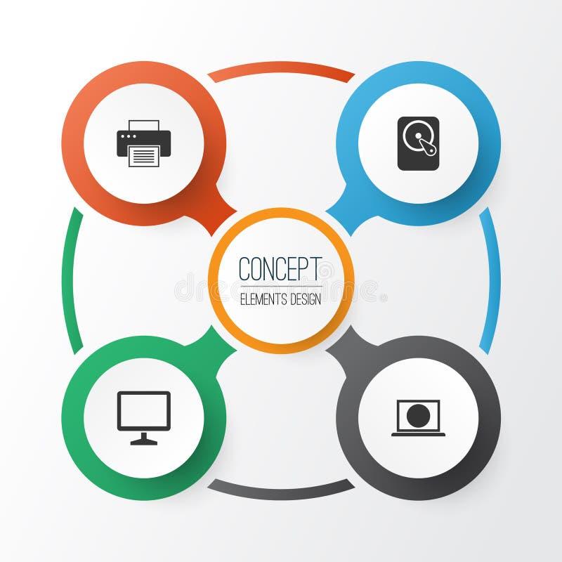 Digital-Ikonen eingestellt Sammlung Desktop, Hdd, Druckmaschine und andere Elemente Schließt auch Symbole wie ein stock abbildung