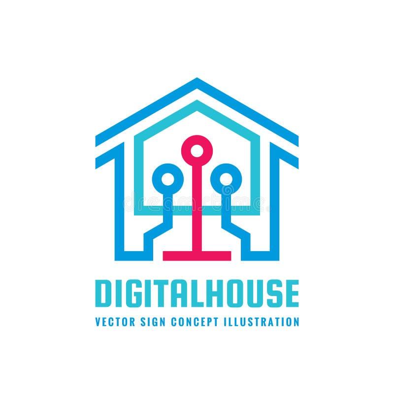Digital ilar huset - illustration för begrepp för vektorlogomall Idérikt tecken för modern teknologi vektor för bild för designel royaltyfri illustrationer