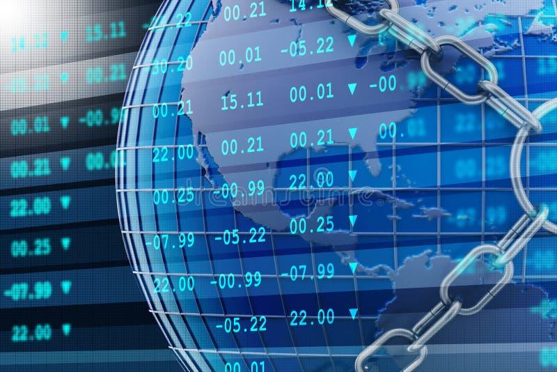 Digital illustration av aktiemarknaddiagrammet med kedjan arkivfoton