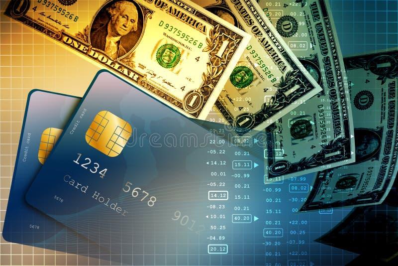 Digital illustration av det monetära begreppet och marknaden som analyserar grafen royaltyfri illustrationer