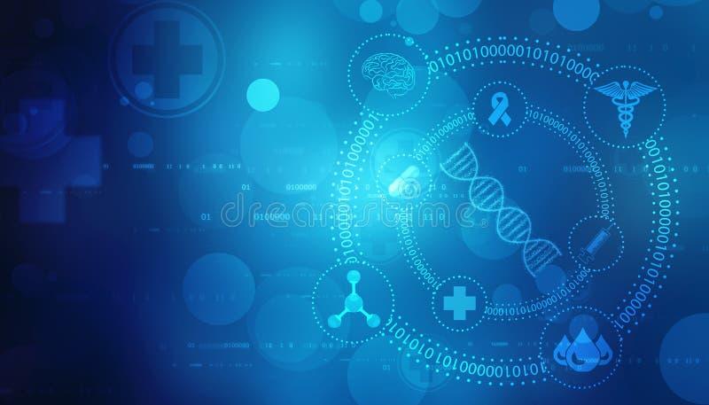 Digital illustration av DNAstrukturen, abstrakt medicinsk bakgrund vektor illustrationer