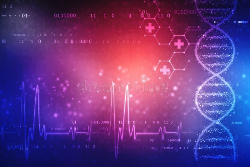 Digital illustration av DNAstrukturen, abstrakt medicinsk bakgrund arkivbilder