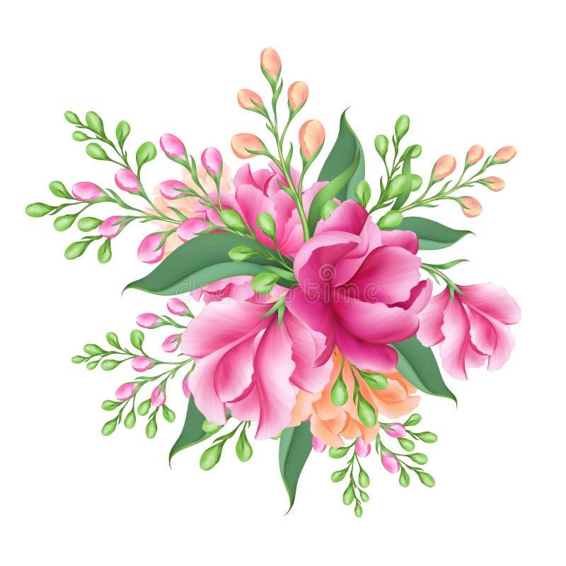Digital illustration, brud- grupp av rosa blommor som isoleras på vit bakgrund royaltyfri fotografi