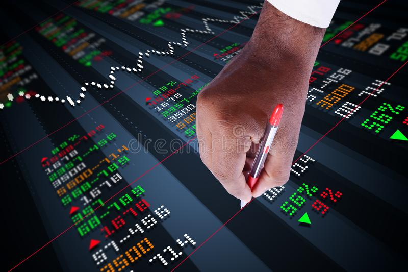 Business man marking the stock chart. Digital illustration of Business man marking the stock chart in color background stock photography