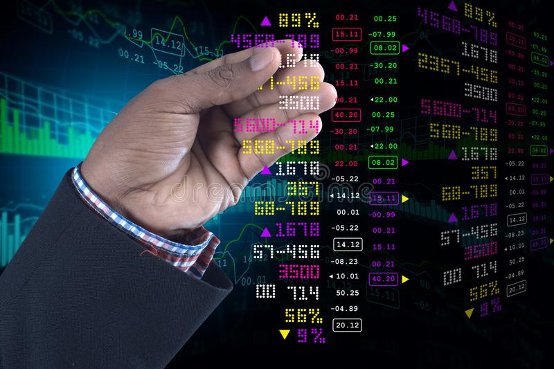 Business man showing the stock chart. Digital illustration of Business man showing the stock chart in color background stock photos