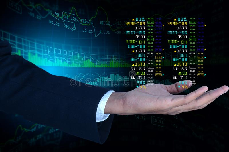 Business man showing the stock chart. Digital illustration of Business man showing the stock chart in color background stock images