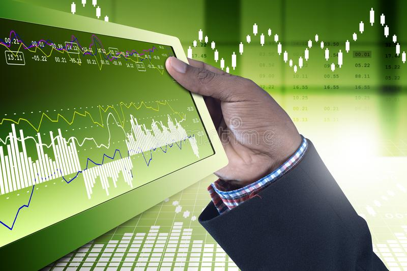 Business man showing the stock chart. Digital illustration of Business man showing the stock chart in color background royalty free stock images