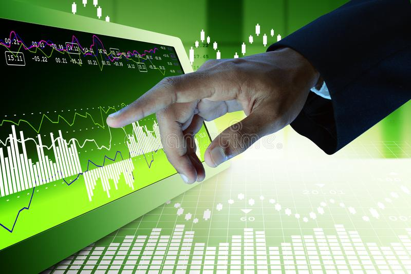 Business man touching the stock chart. Digital illustration of Business man touching the stock chart in color background royalty free stock photos