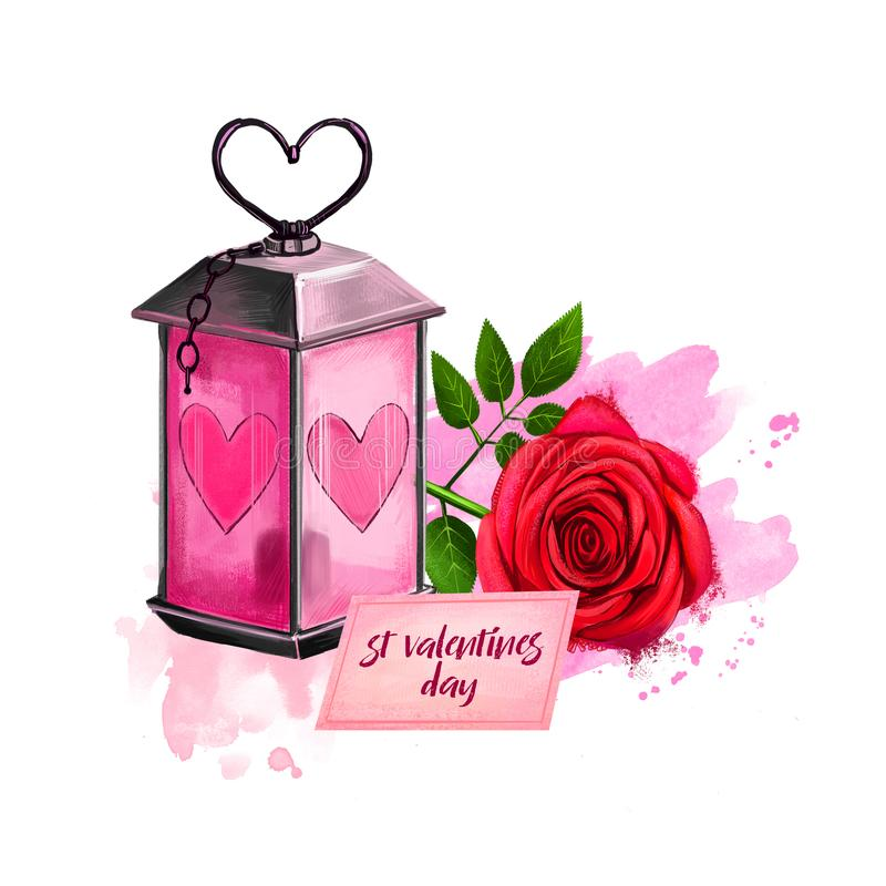 Digital illustration of candle lamp with red rose and card. Beautiful design with paint splashes. Happy Valentines Day greeting. Card graphic design. Hand drawn stock image