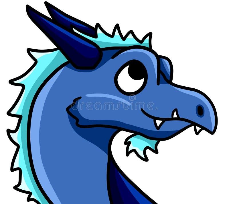 Magical Cute Blue Ice Dragon stock illustration