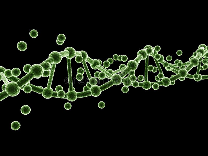 3d rendered dna  isolated on dark background. Digital illustration of 3d rendered dna  isolated on dark  background stock illustration