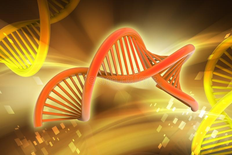 3d rendered dna in color background. Digital illustration of 3d rendered dna structure design on a color background vector illustration