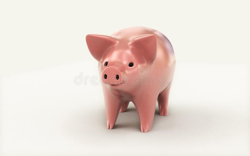 3d rendered Piggy bank isolated on white background. Digital illustration of 3d rendered Piggy bank isolated on white background stock illustration