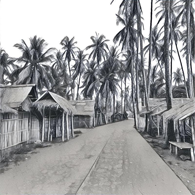 Digital-Illustration - das Dorf im Dschungel Traditionelle philippinische Dorfbleistiftskizze stock abbildung