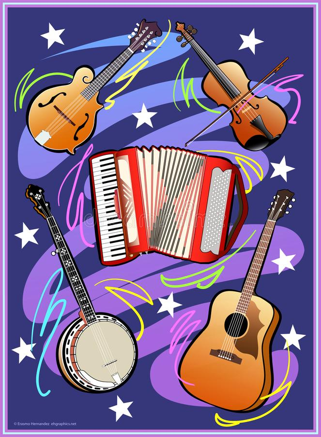 Country Western Music. A digital illustration that depicts country music, music instruments: banjo guitar, accordion, fiddle and mandolin royalty free illustration