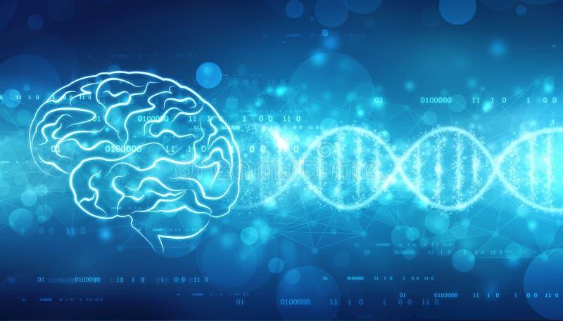 Digital-Illustration der Struktur des menschlichen Gehirns, kreativer Gehirnkonzepthintergrund, stock abbildung
